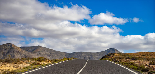 Panorama of landscape on Fuerteventura .