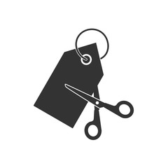 Scissors cutting price tag icon. Vector illustration, flat design. tag