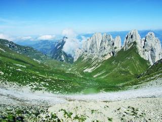 View to the peak Chruzberg in the mountain mass Alpstein - Canton of Appenzell Innerrhoden, Switzerland