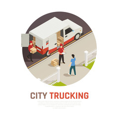City Trucking Isometric Round Composition
