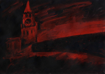 Red Square. Moscow Kremlin, Russia. Russian capital. Spasskaya Tower, chiming clock, brick wall. Red and black abstract background. Acrylic painting.