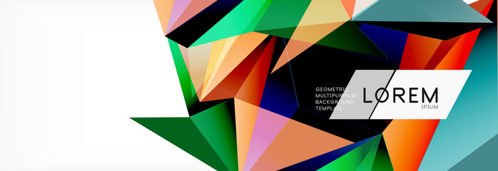 3d card on light backdrop. Abstract triangle pattern. Futuristic geometric background.