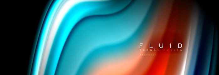 Fluid wave line background or pattern. Geometric technology abstract background. Movement effect.