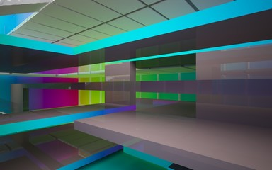 Abstract brown and colored gradient glasses interior multilevel public space with window. 3D illustration and rendering.