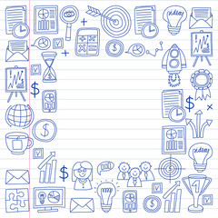 Vector set of bussines icons in doodle style. painted by penon a piece of paper in line.