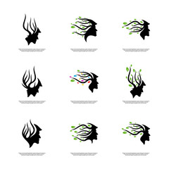 Set of Brain with Tree Logo Design Concept, People Head with Tree Logo - Vector Illustration - Vector