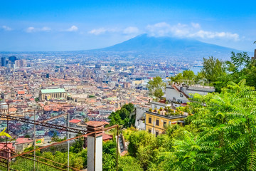 Panorama of the city of Naples, Italy, from castel Sant'Elmo