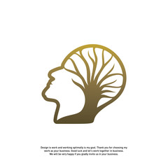Brain with Tree Logo Design Concept, People Head with Tree Logo - Vector Illustration - Vector