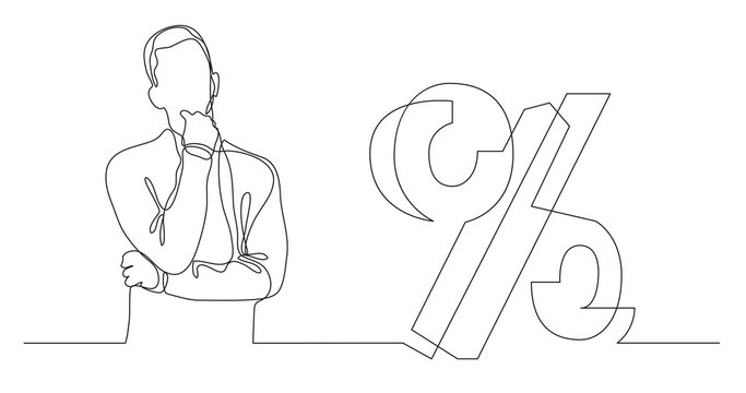 man thinking about mortgage interest rate - continuous line drawing