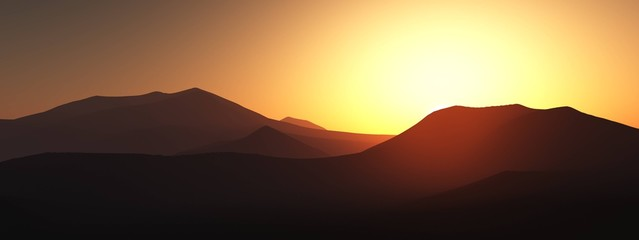 The hills at sunset, the mountains of sunset at sunset