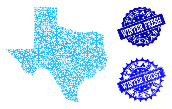 Snowed map of Texas State and grunge stamp seals in blue colors with Winter Fresh and Winter Frost titles. Mosaic map of Texas State is formed with ice elements.