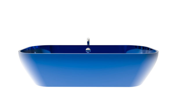 3D illustration of a blue bathtub isolated on a white background