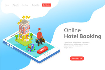 Flat isometric vector landing page template of booking hotel online, apartment search and reservation.