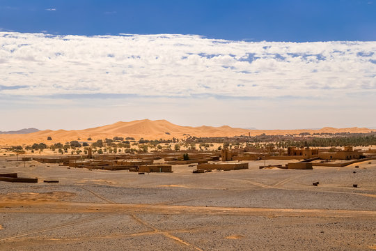 View over Merzouga village and sand dunes Morocco