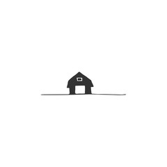 Vector hand drawn object. Farm logo element with barn illustration.