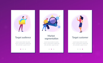 Businessman look with magnifier at target group. Market segmentation and adverts, target market and customer concept on white background. Mobile UI UX GUI template, app interface wireframe