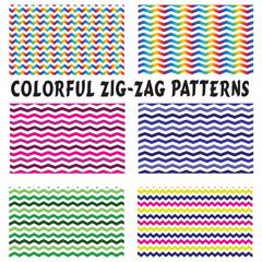 Patterns-6 Colorful Zig-Zag Seamless Patterns