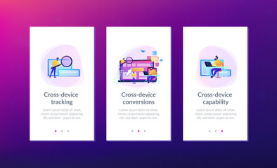 IT specialist identify user across mobile, laptop and tablet. Cross-device tracking and capability, cross-device using concept on white background. Mobile UI UX GUI template, app interface wireframe
