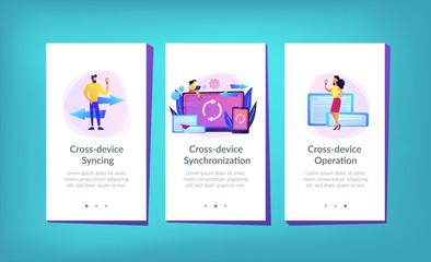 User with laptop and smartphone synchronizing. Cross-device syncing, cross-device synchronization and operation concept on white background. Mobile UI UX GUI template, app interface wireframe