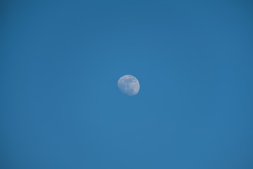 Daytime moon on blue sky.