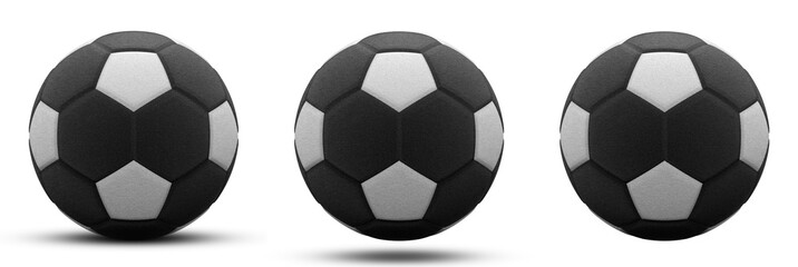 black and white soccer ball in three versions, with and without shadow. Isolated on white. 3d render.
