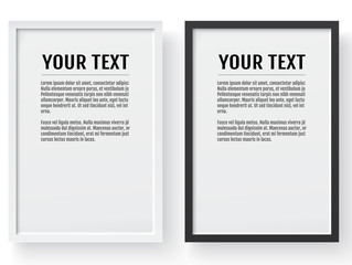 Black and white modern frame, vertical mockup. Place for text, photo, gift or others. Vector illustration.