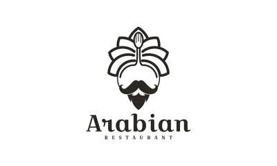 Arabic food Restaurant Vector Design Logo Template. Flat Style - Vector