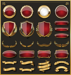 Collection of elegant red and golden badges and labels design elements