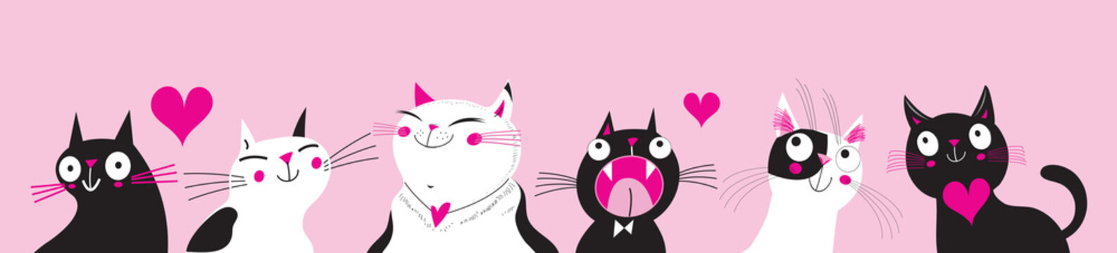 Festive vector greeting card with funny cats in love