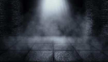 Background of an empty corridor with brick walls and concrete floor. Spotlight, smoke, neon light
