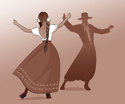 Gaucho with mustache and hat and woman with braids dancing typical dance of South America