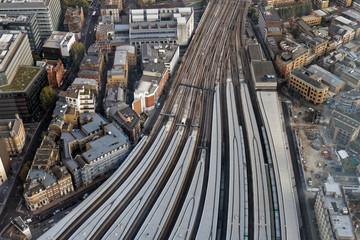 Aerial view of London bridge station - Southwark - London, UK