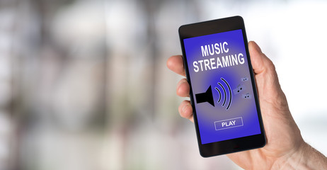 Music streaming concept on a smartphone