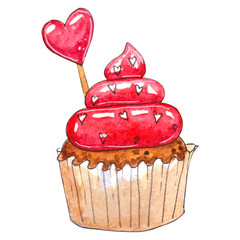 Watercolor cupcake isolated on white background.