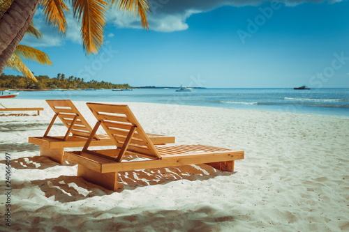 Vacation Holidays Background Wallpaper Beach Loungers Without