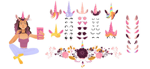 Vector cartoon girl making selfie in unicorn mask with photo booth props elements set. Pink fancy selfie decoration symbols with cute horn with ears, eyelashes. Fairy animal costume for scrapbooking