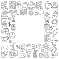 Vector set of bussines icons in doodle style.