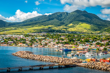 Wall Mural - Landscape of St Kitts Island, Leeward Islands. View from cruise port Zante, Basseterre.