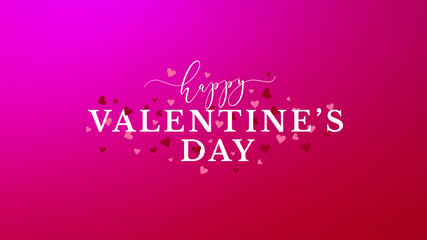 Wall Mural - Happy Valentine's Day Celebration Text With Hearts Over Pink Gradient Background