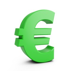 3D Rendering Green Euro Sign isolated on white background