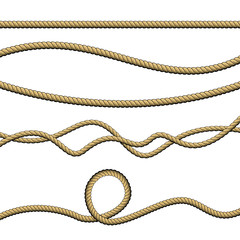 Set of different ropes on white background