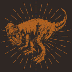 Vector illustration of a dinosaur, on a simple background. Print for t-shirts or stickers.