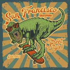 Original vector illustration of a dinosaur on a skateboard. Print for t-shirts or stylish stickers.