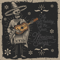 Original vector illustration. Skeleton in a hat and a guitar in his hands. Mexican. Drawing in retro style. Print for t-shirt or sticker