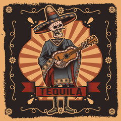 Vector label with a skeleton with a guitar in his hands. Tequila