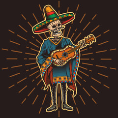 Mexican with a guitar in his hands. Vector illustration.
