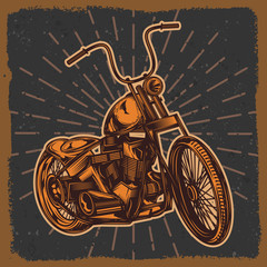 American classic motorcycle. Vector illustration of a motorcycle. Original drawing. Classic custom