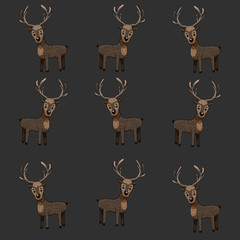 pattern with horned deer.