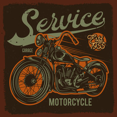 Original vector illustration in retro style. Classic American motorcycle on dark background