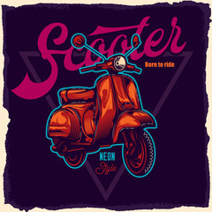 Classic neon scooter. Vector illustration. Design for emblem or t-shirt.